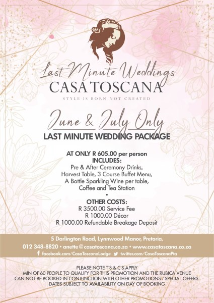 Last Minute Wedding Package June July 2019 425 x 600